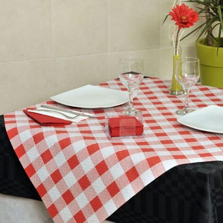 Mantel de Papel 100x100 cm Cuadros (400 Uds) Rojo