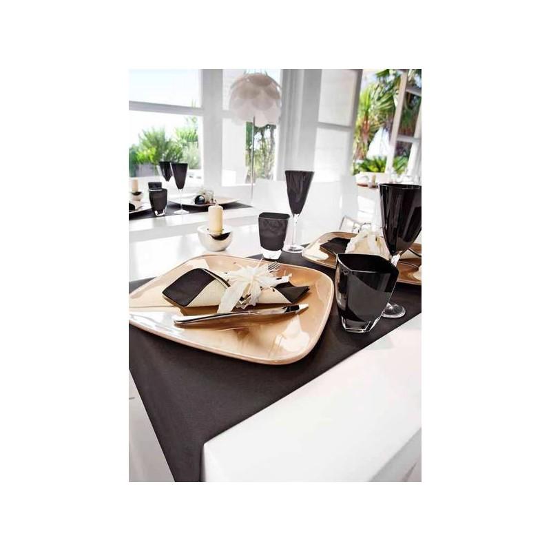 Servilleta 40x40 Prestige Bicolor negro/champagne