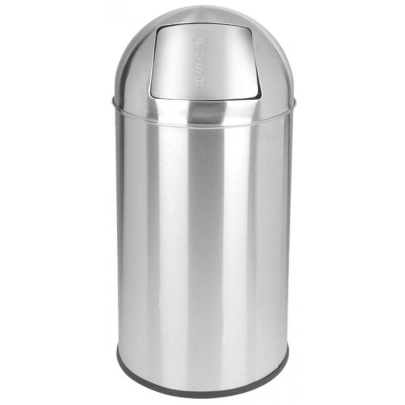 Papelera push 40 litros Inox Brillo
