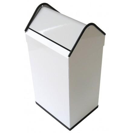 Papelera rectangular basculante 40L blanco