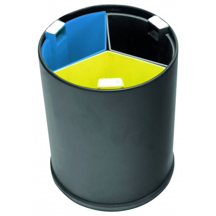 Papelera redonda triselectiva Negro/Colores