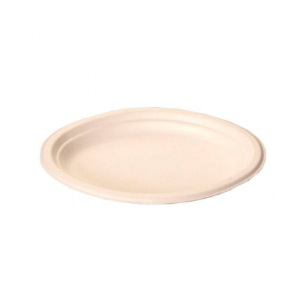 Plato ovalado 25,5x19 cm fibra moldeada (125 Uds)
