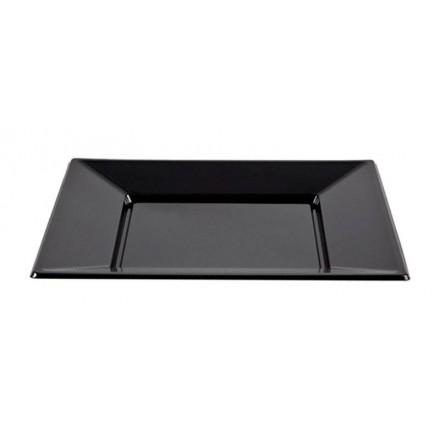 Plato Cuadrado Negro 23x23 cm (50 Uds)