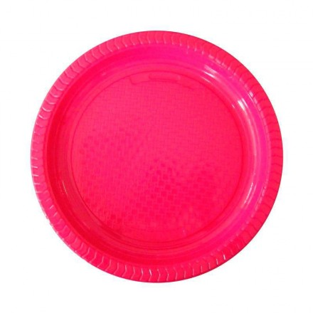 Plato de Plástico Fucsia 22 cm (10 Uds)