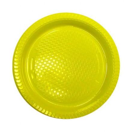 Plato de Plástico Amarillo 22 cm (10 Uds)