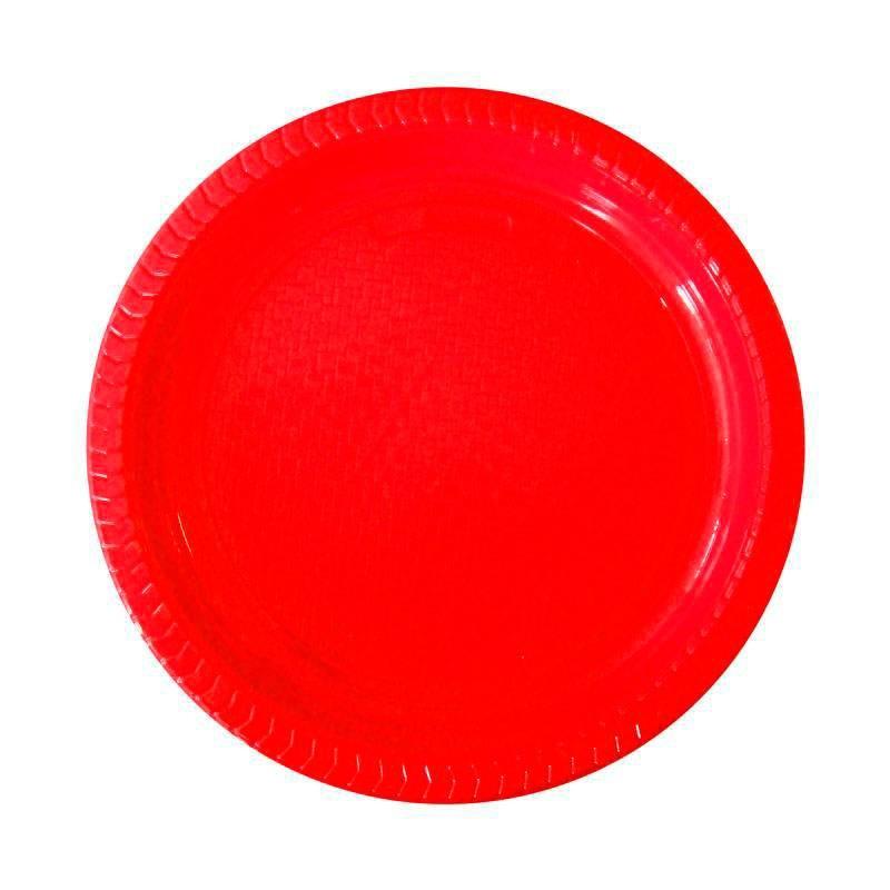 Plato de Plástico de Color 22 cm. - Rojo