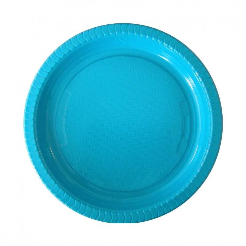 Plato de Plástico de Color 22 cm. Azul Turquesa
