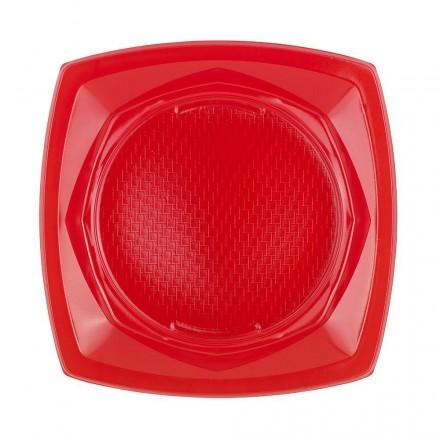 Plato de Plástico Cuadrado Rojo 23 cm (20 Uds)