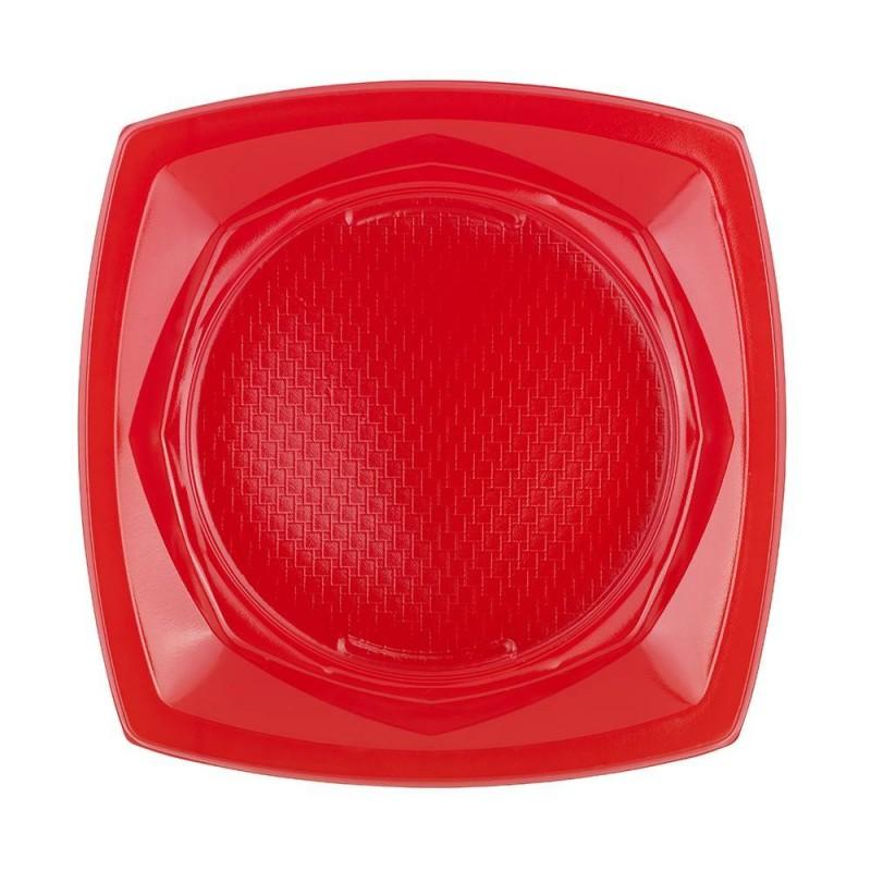 Plato de Plástico Cuadrado Color 23 cm - Rojo