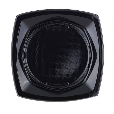Plato de Plástico Cuadrado Negro 23 cm (20 Uds)