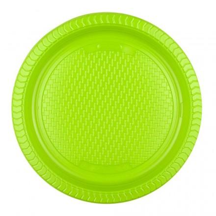 Plato de Plástico Verde 22 cm (10 Uds)