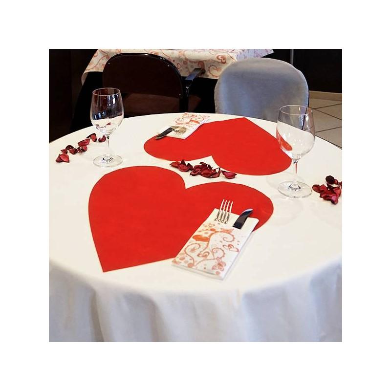 Mantel individual forma de corazón 42x42 cm (250 Uds)