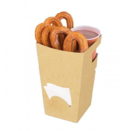 Estuche para Churros con Chocolate Kraft