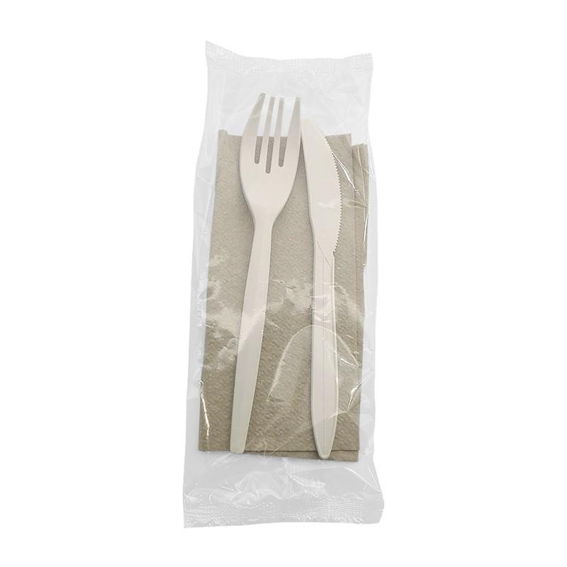 Set tenedor, cuchillo y servilleta ecológicos