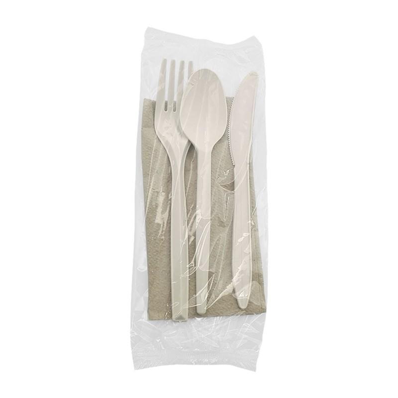 Set cuchara, tenedor, cuchillo y servilleta ecológicos