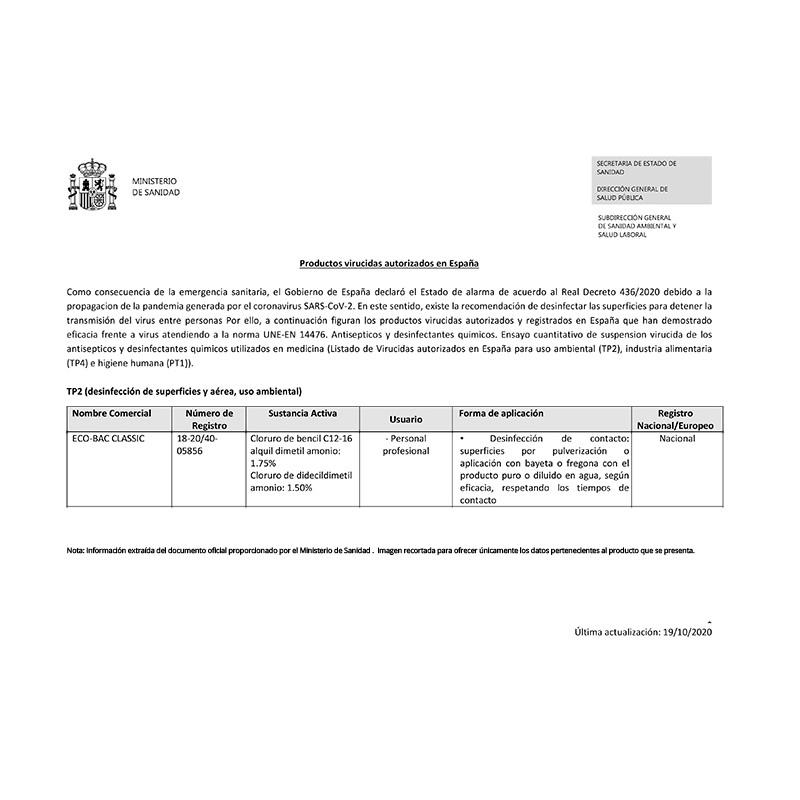Eco-Bac Classic, producto desinfectante viricida, fungicida y antimicrobiano.