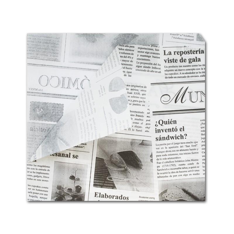 Bolsa Papel Parafinado 17x17 Impreso Periódico