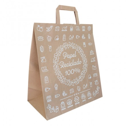 Bolsa papel kraft decorada 30x16x34 cm (250 uds)