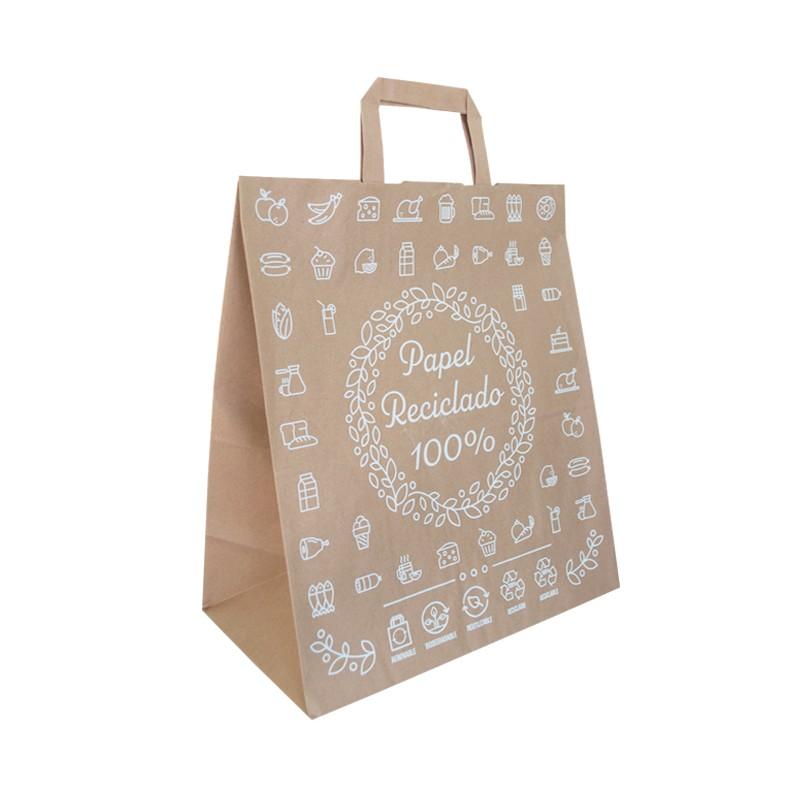 Bolsa papel kraft decorada 30x16x34 cm (250 uds)