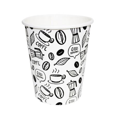 Vaso de cartón decorado modelo coffee 110 cc (50 uds)