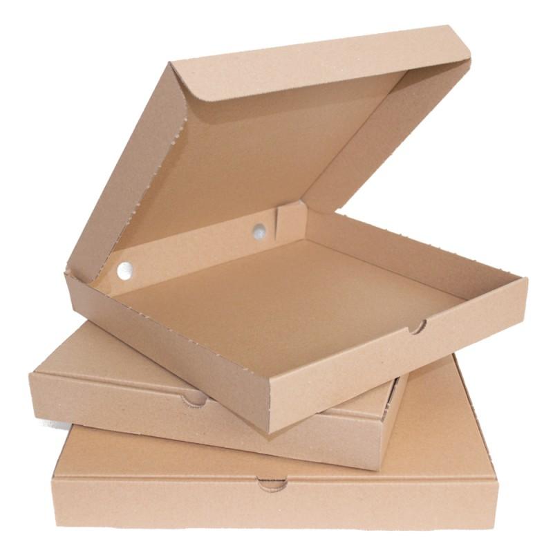 Caja Pizza Cartón Color Kraft sin Impresión. Disponible en 4 medidas